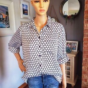 Michael Kors button down polka dot blouse